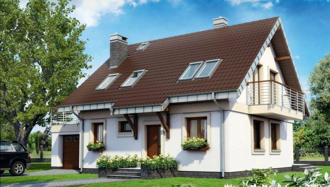 Мансардный дом в традиционном стиле с пристроенным гаражом на 1 авто
