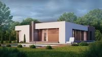 Проект современного одноэтажного дома с модным интерьером