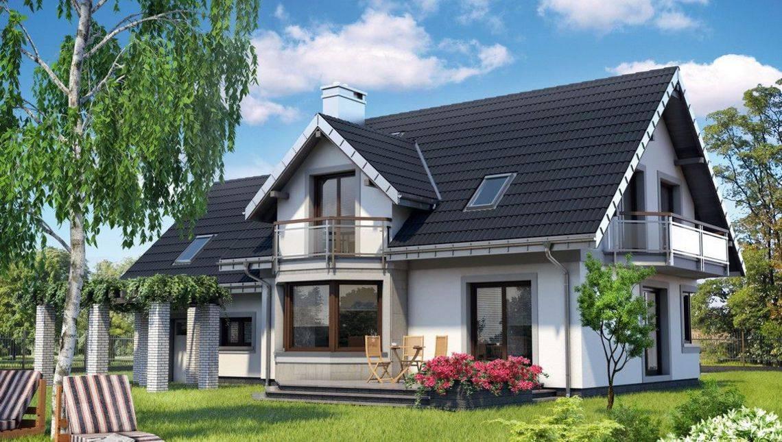 Современный загородный дом с гаражом для двух автомобилей