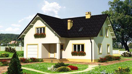 Видный двухэтажный дом с гаражом на одно авто