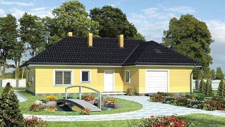 Проект загородного дома с небольшим гаражом и удобной планировкой