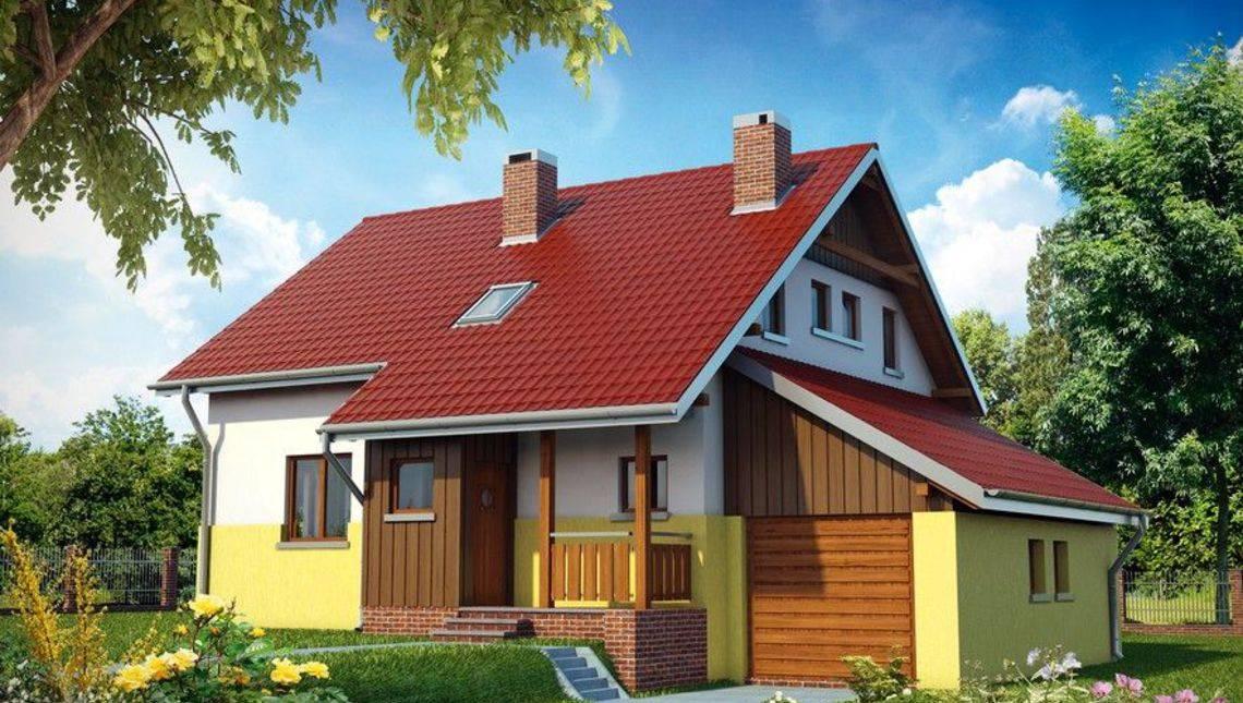 Архитектурный проект красивого дома с балконом и верандой