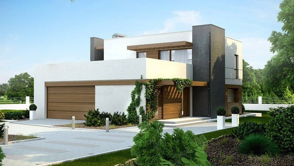 Проекты современных коттеджей с гаражом гараж купить воронеж северный район