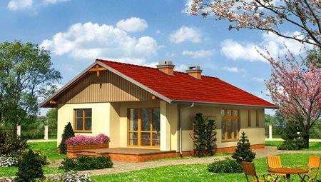 Проект стильного небольшого дома с площадью 80 m²