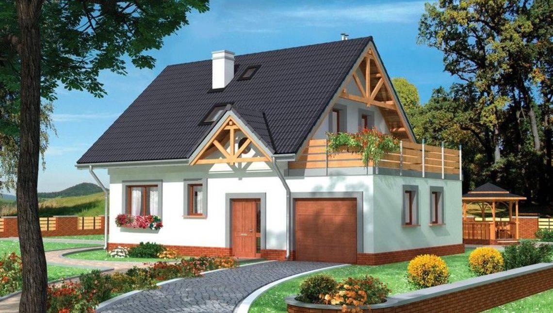 Проект красивого особняка с гаражом и просторным балконом