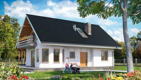 Архитектурный проект современного дома с открытой деревянной террасой