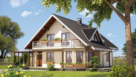 Превосходный особняк с красивыми эркерами и балконом