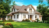 Проект классического дома с мансардой и балконом
