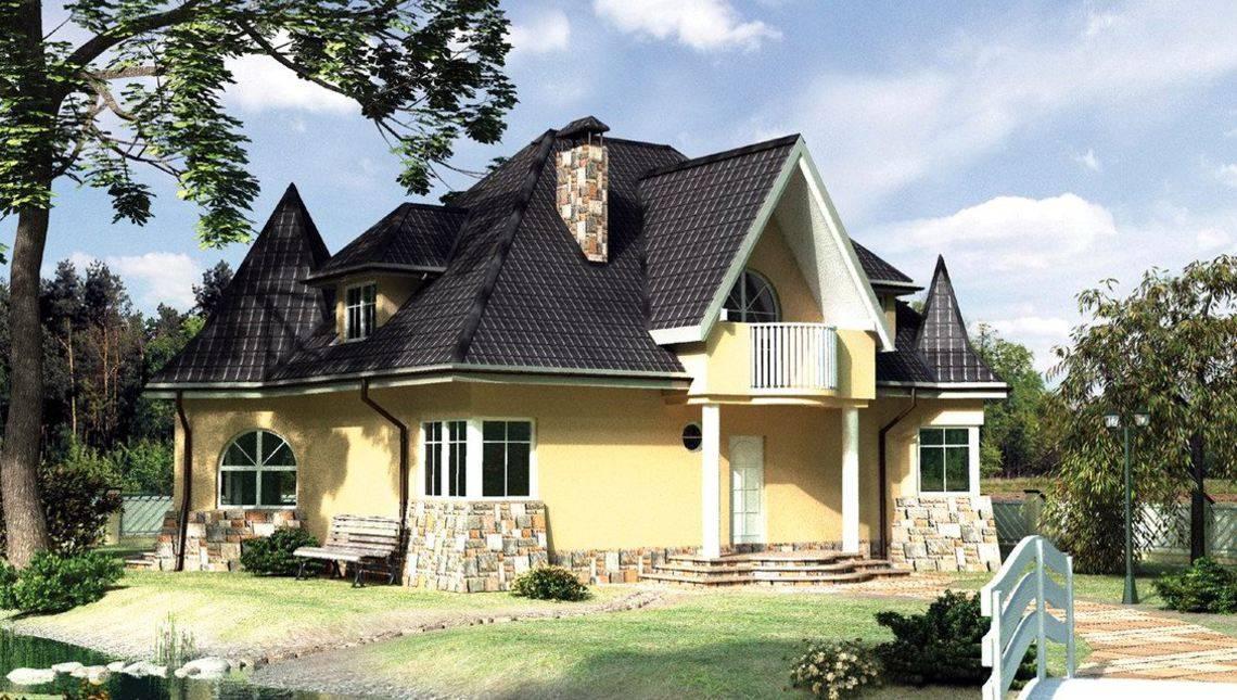 Красивая загородная вилла с шестью комнатами и интересным дизайном