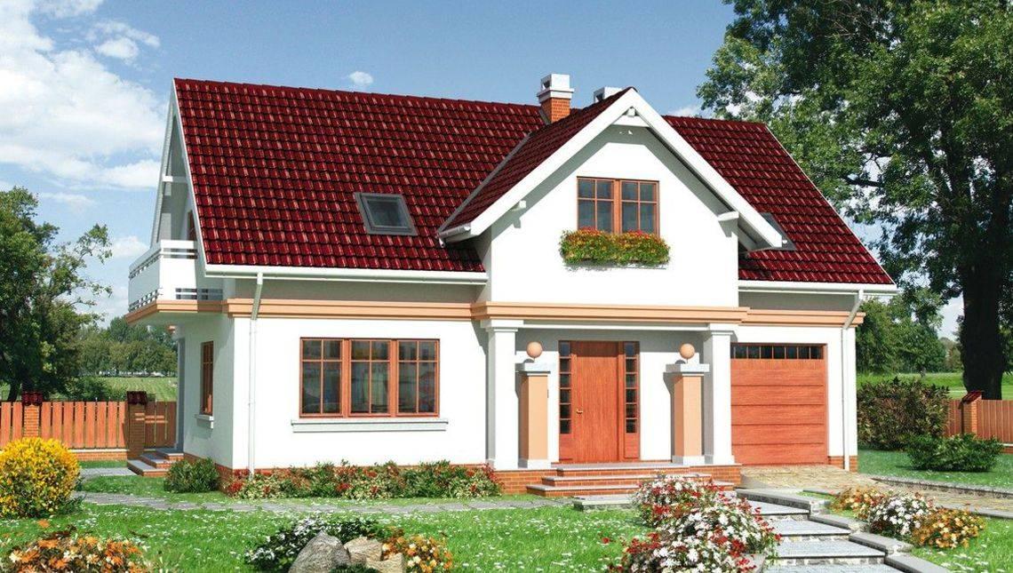 Загородный коттедж с мансардным этажом и площадью 180 m²