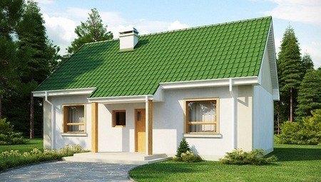 Проект дома с двускатной крышей и помещением для мансарды