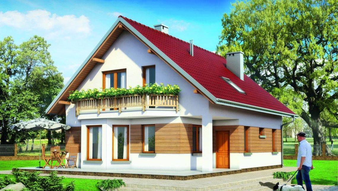 Жилой дом на 125м2 жилой площади под двускатной крышей
