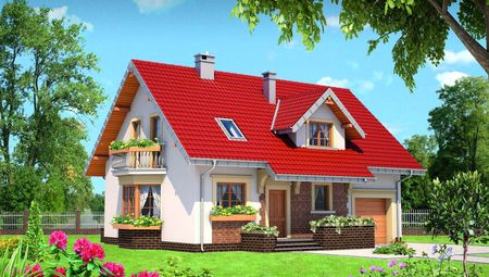 Проект для строительства мансардного дома с эркером
