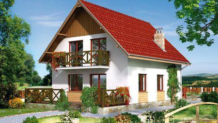 Проект красочного дома в европейском стиле под двухскатной алой кровлей