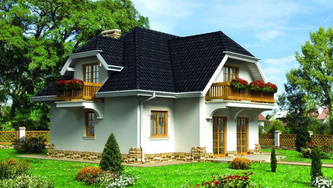 Привлекательный жилой дом на три балкона с цокольным этажом