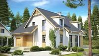 Проект коттеджа с мансардными окнами и фронтальным гаражом
