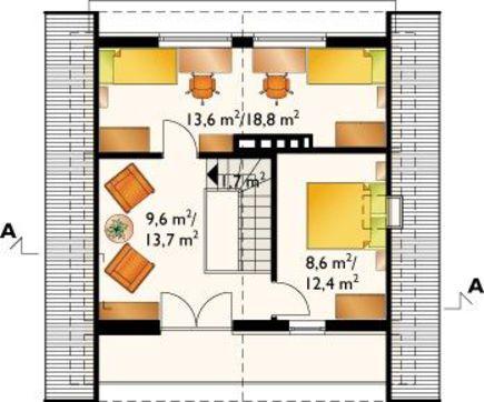 Мансардный дом квадратной формы 9 на 9