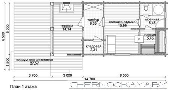 Элегантный небольшой дом для отдыха и водных процедур