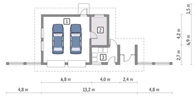 Современный гараж на два авто с автомастерской