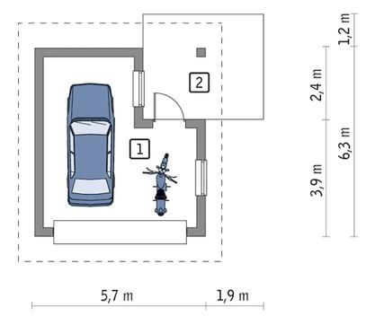Просторный гараж с навесом
