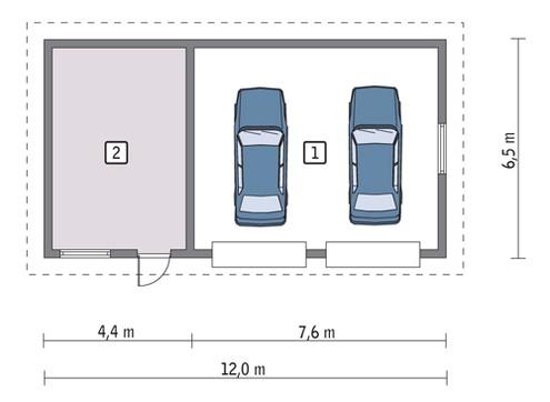 Просторный гараж с жилой комнатой