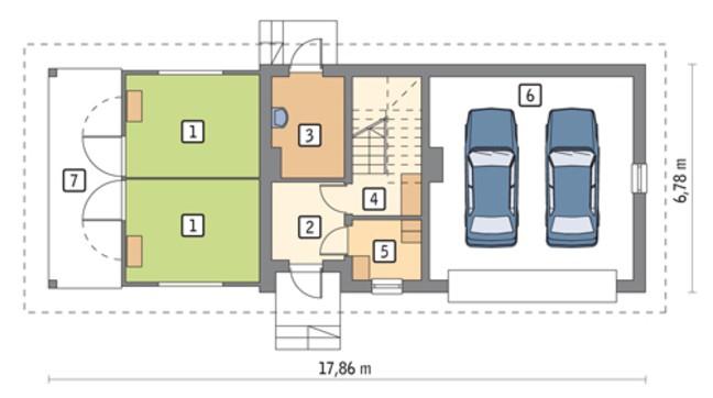 Проект конюшни с гаражом на 2 авто