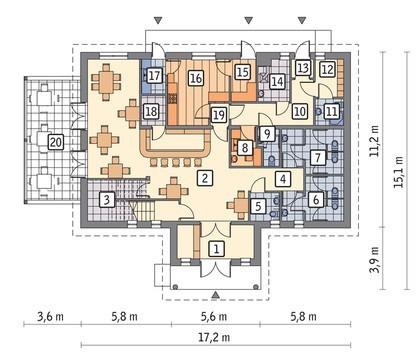 Торговый комплекс с верандой и жилыми апартаментами