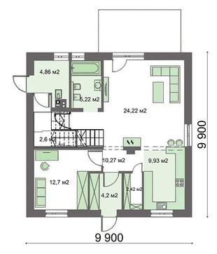 Современный жилой дом с кабинетом на первом этаже