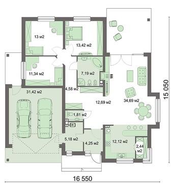 Схема привлекательного жилого дома с гаражом для двух авто