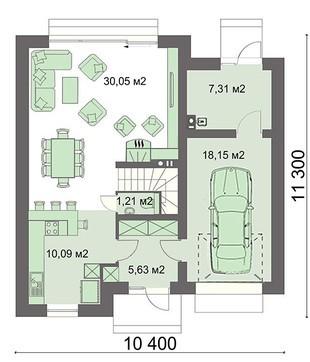 Стильный особняк с кухней-студией и гаражом