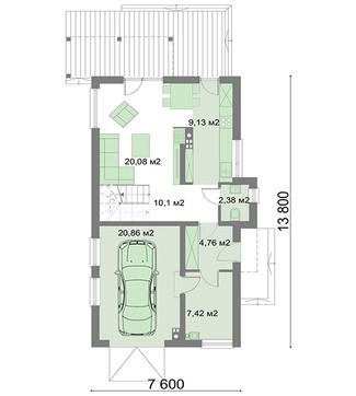 Яркий жилой двухэтажный дом площадью 80 квадратов