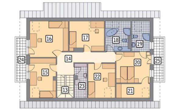 Проект компактного мансардного дома для большой семьи с гаражом на 2 авто