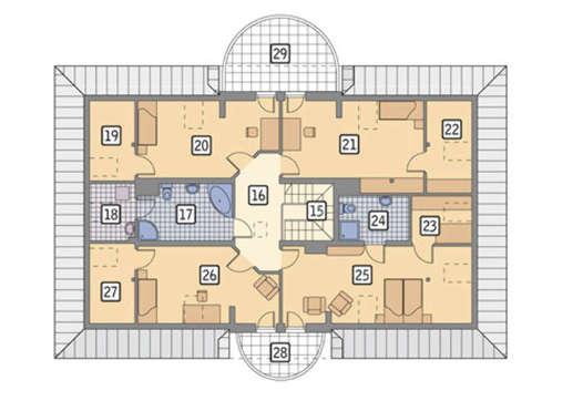 Интересный проект двухэтажного дома с полукруглыми крылечками и двумя спальнями