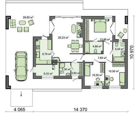 Проект одноэтажного стильного дома хай - тек с бассейном и гаражом на одну машину