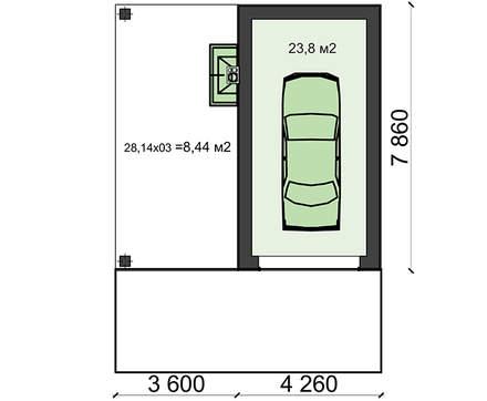 Проект гаража на одну машину с зоной барбекю