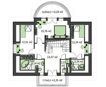 Помпезное жилое строение на два этажа