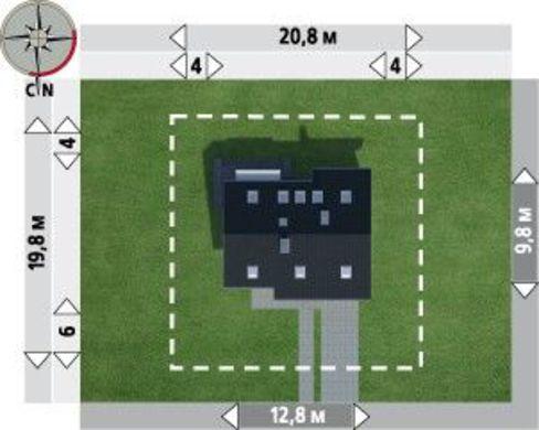 Архитектурный проект современного коттеджа с гаражом и террасой