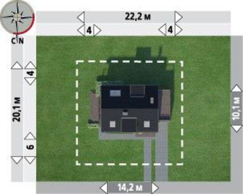 Проект стильного коттеджа с гаражом и просторным балконом