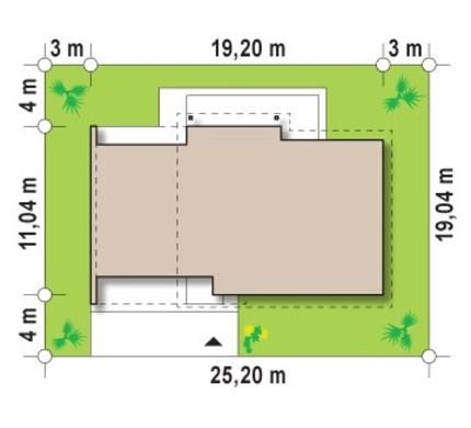 Проект одноэтажного коттеджа с боковым гаражом