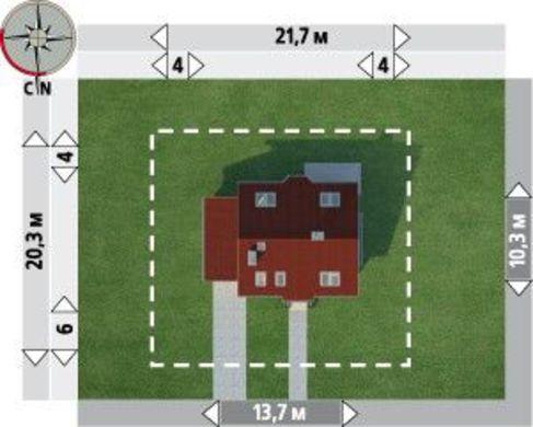 Симпатичный проект дома с мансардой с гаражом на 1 авто