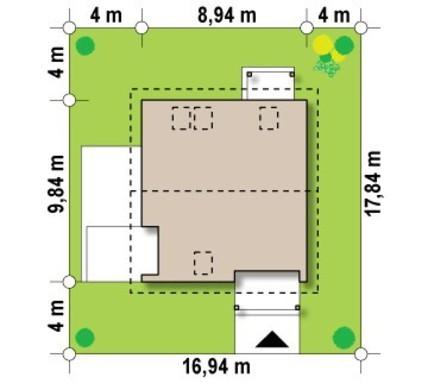 Проект коттеджа с мансардой, дополнительной комнатой на первом этаже