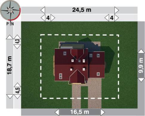 Проект для строительства симпатичного дома с гаражом на 2 авто и угловым эркером