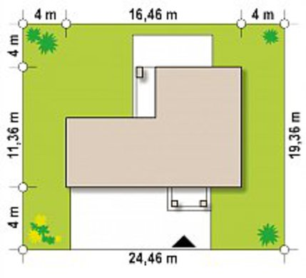 Небольшой двухэтажный коттедж с гаражом в пристройке