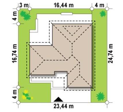 Проект одноэтажного коттеджа с угловой террасой