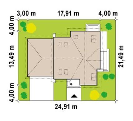 Проект дома с гаражом для двух машин и террасой