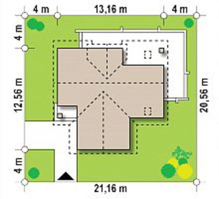 Т-образный дом с мансардой