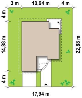 Проект дома с мансардой, техническим помещением, дополнительной спальней