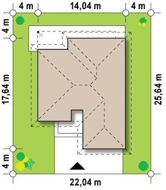Проект одноэтажного дома с фронтальным гаражом