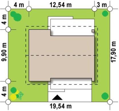 Проект одноэтажного дома с небольшим чердаком