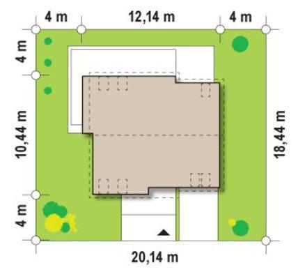 Проект коттеджа простой формы с двускатной крышей